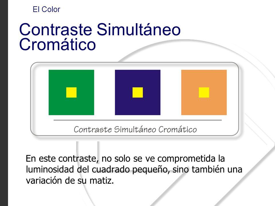En este contraste, no solo se ve comprometida la luminosidad del cuadrado pequeño, sino también una variación de su matiz. El Color Contraste Simultán