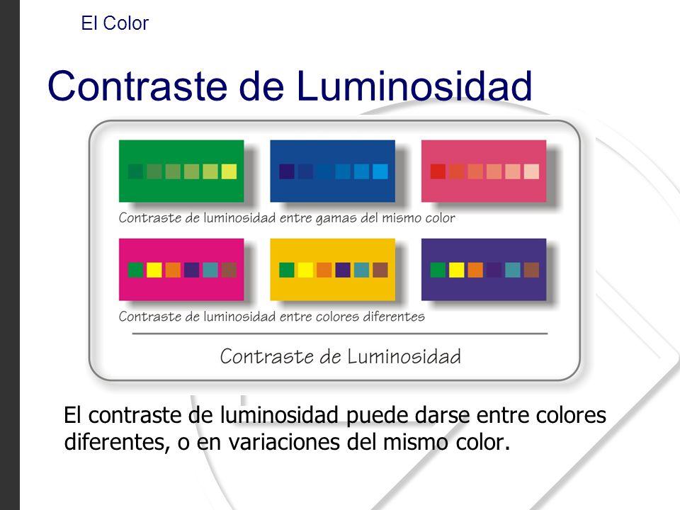 El contraste de luminosidad puede darse entre colores diferentes, o en variaciones del mismo color. El Color Contraste de Luminosidad