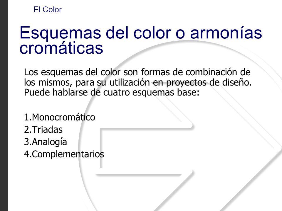 Los esquemas del color son formas de combinación de los mismos, para su utilización en proyectos de diseño. Puede hablarse de cuatro esquemas base: 1.