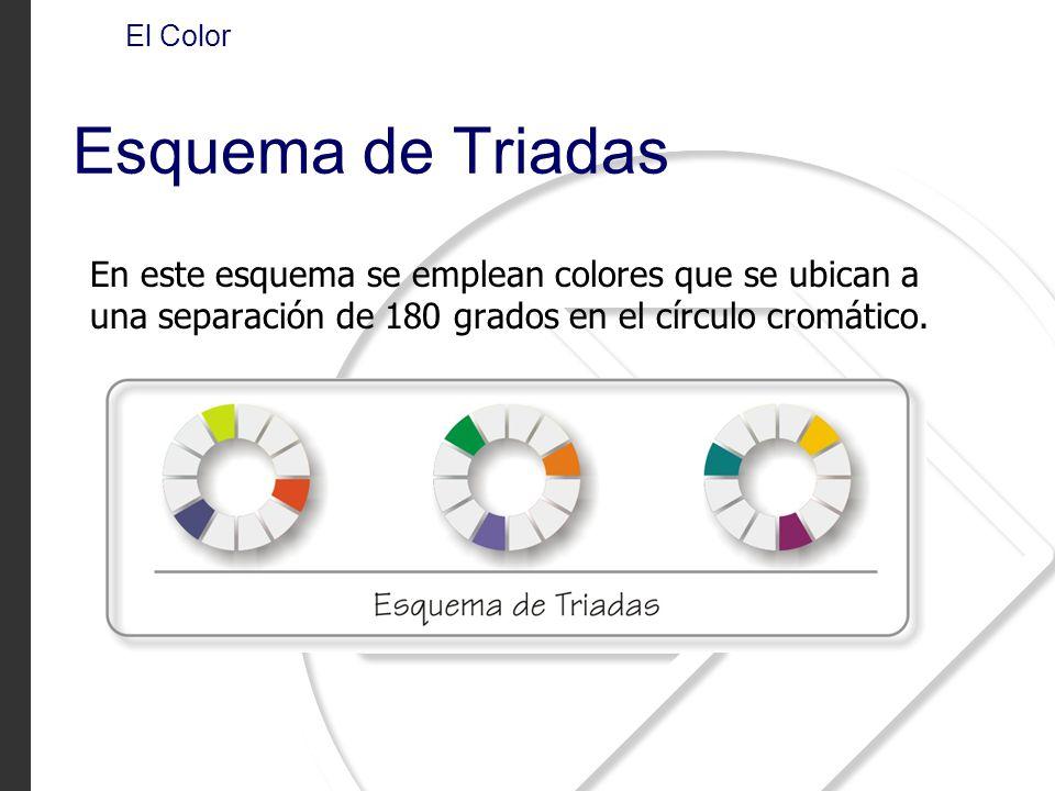 En este esquema se emplean colores que se ubican a una separación de 180 grados en el círculo cromático. El Color Esquema de Triadas