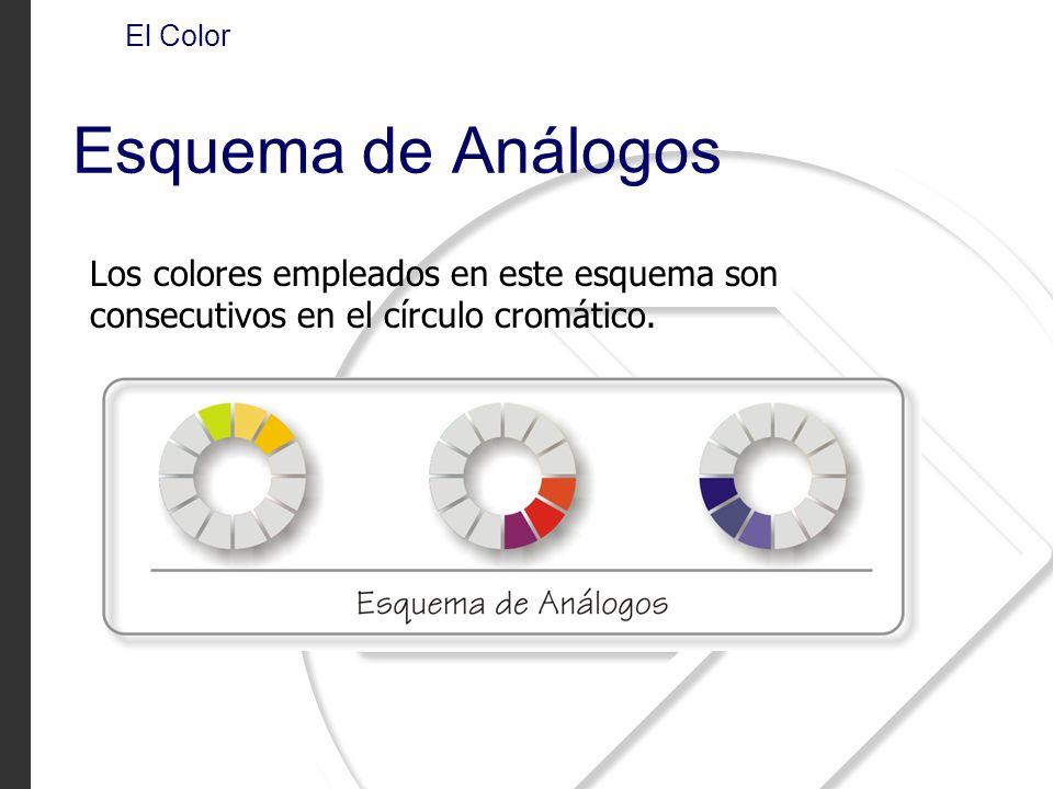 Los colores empleados en este esquema son consecutivos en el círculo cromático.