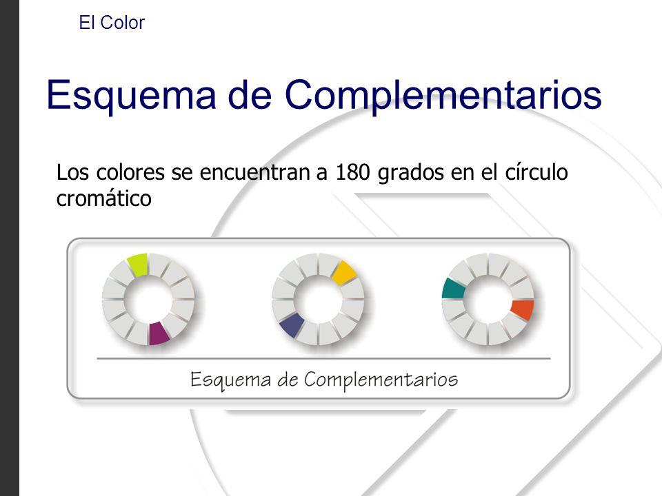 Los colores se encuentran a 180 grados en el círculo cromático El Color Esquema de Complementarios