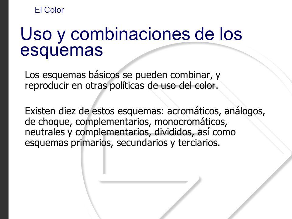 Los esquemas básicos se pueden combinar, y reproducir en otras políticas de uso del color. Existen diez de estos esquemas: acromáticos, análogos, de c