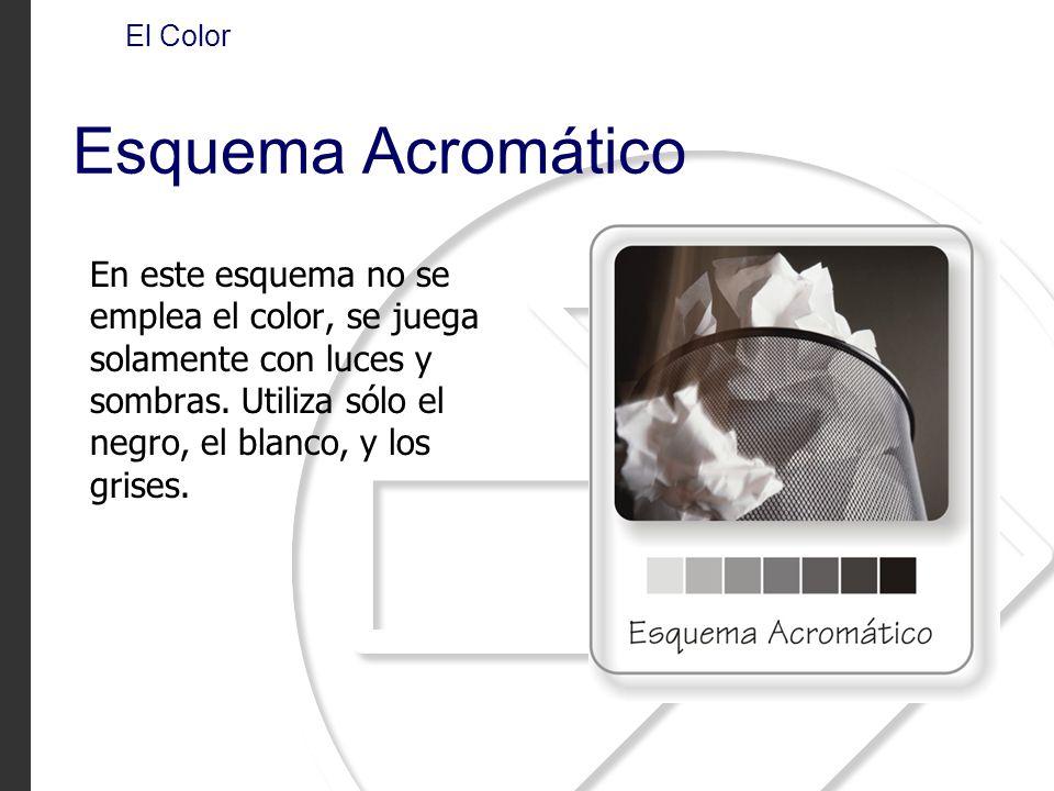 En este esquema no se emplea el color, se juega solamente con luces y sombras. Utiliza sólo el negro, el blanco, y los grises. El Color Esquema Acromá
