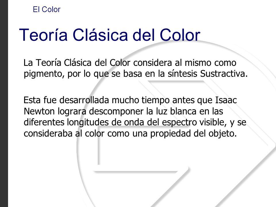 La Teoría Clásica del Color considera al mismo como pigmento, por lo que se basa en la síntesis Sustractiva.