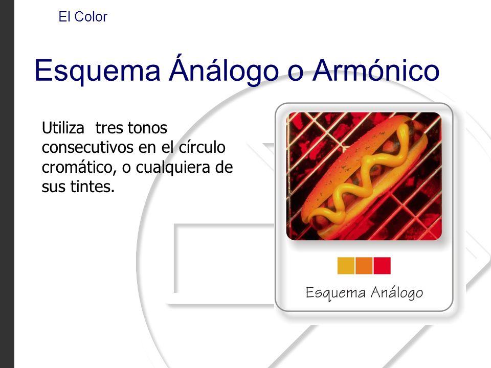 Utiliza tres tonos consecutivos en el círculo cromático, o cualquiera de sus tintes. El Color Esquema Ánálogo o Armónico