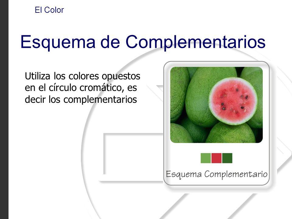 Utiliza los colores opuestos en el círculo cromático, es decir los complementarios El Color Esquema de Complementarios