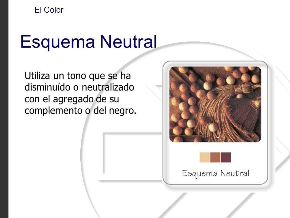 Utiliza un tono que se ha disminuído o neutralizado con el agregado de su complemento o del negro. El Color Esquema Neutral