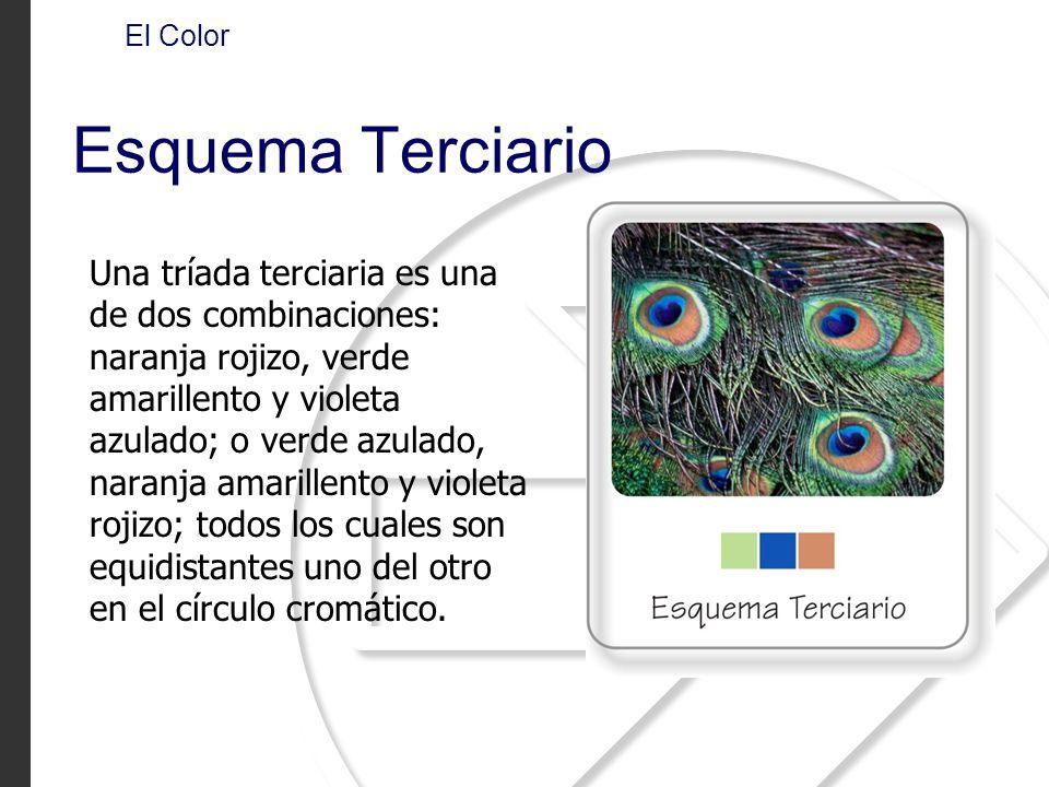 Una tríada terciaria es una de dos combinaciones: naranja rojizo, verde amarillento y violeta azulado; o verde azulado, naranja amarillento y violeta