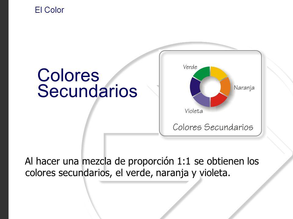 Al hacer una mezcla de proporción 1:1 se obtienen los colores secundarios, el verde, naranja y violeta. El Color Colores Secundarios