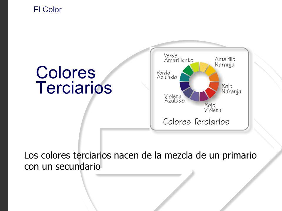 Los colores terciarios nacen de la mezcla de un primario con un secundario El Color Colores Terciarios