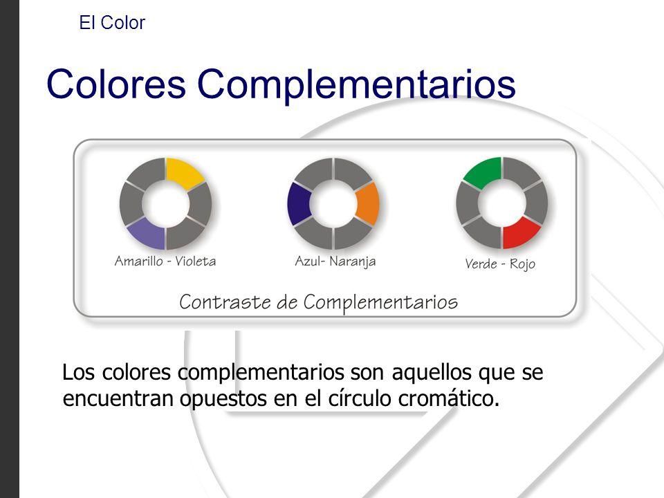 Los colores complementarios son aquellos que se encuentran opuestos en el círculo cromático. El Color Colores Complementarios