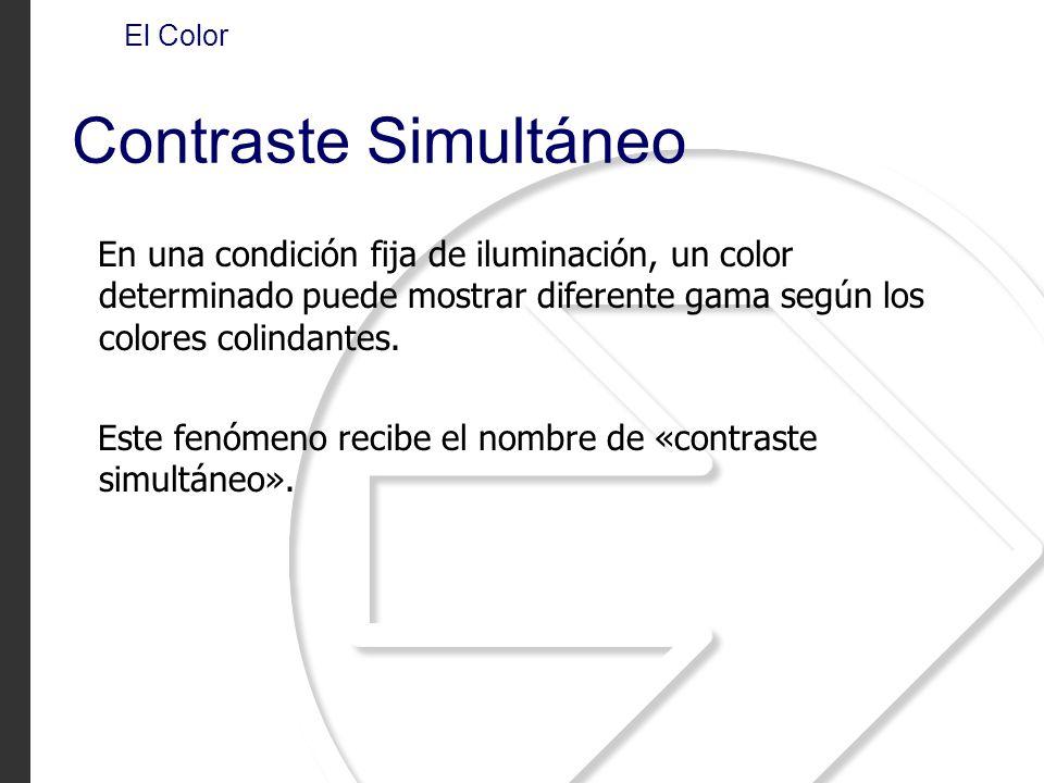 En una condición fija de iluminación, un color determinado puede mostrar diferente gama según los colores colindantes. Este fenómeno recibe el nombre