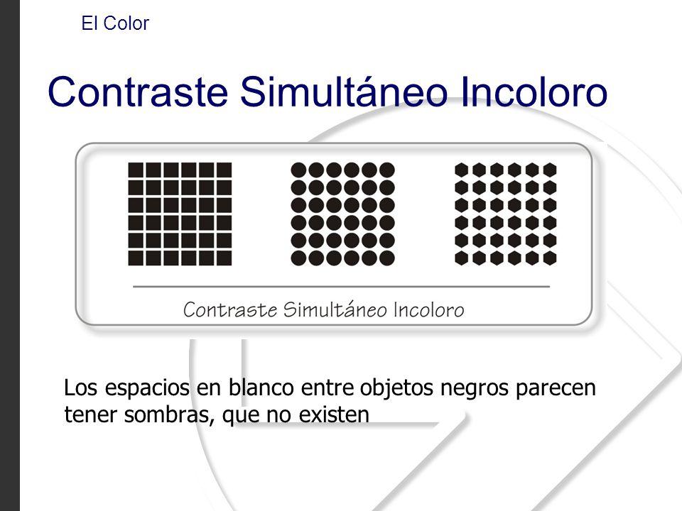 Los espacios en blanco entre objetos negros parecen tener sombras, que no existen El Color Contraste Simultáneo Incoloro