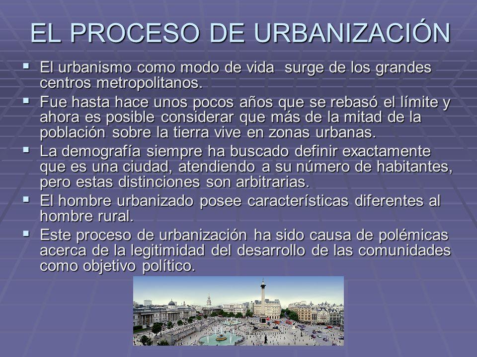 EL PROCESO DE URBANIZACIÓN El urbanismo como modo de vida surge de los grandes centros metropolitanos.
