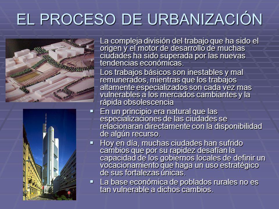 EL PROCESO DE URBANIZACIÓN La compleja división del trabajo que ha sido el origen y el motor de desarrollo de muchas ciudades ha sido superada por las nuevas tendencias económicas.