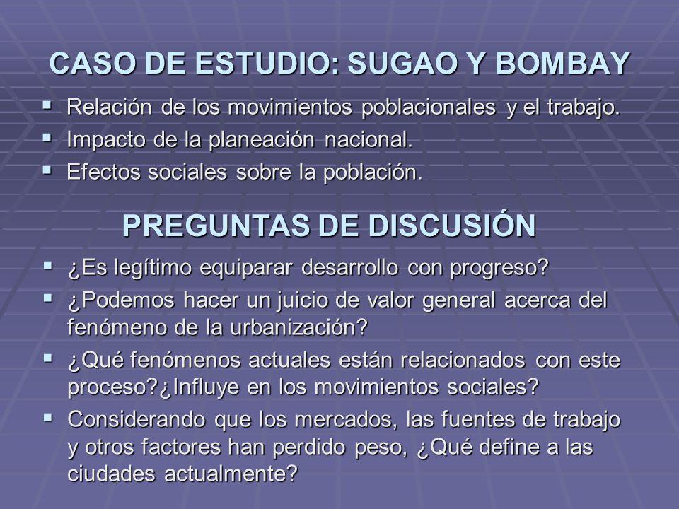 CASO DE ESTUDIO: SUGAO Y BOMBAY Relación de los movimientos poblacionales y el trabajo.