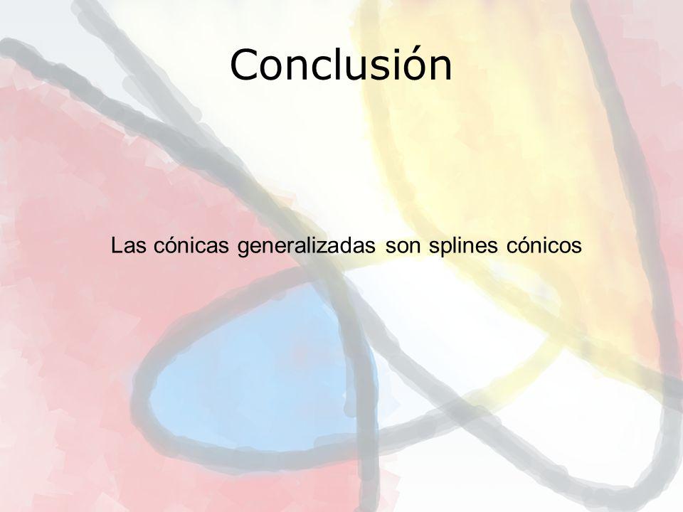 Conclusión Las cónicas generalizadas son splines cónicos