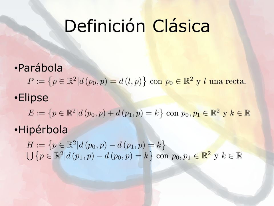 Parábola Elipse Hipérbola Cónica Generalizada Generalización