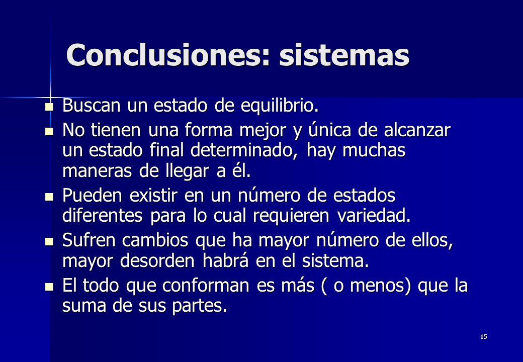 15 Conclusiones: sistemas Buscan un estado de equilibrio. Buscan un estado de equilibrio. No tienen una forma mejor y única de alcanzar un estado fina