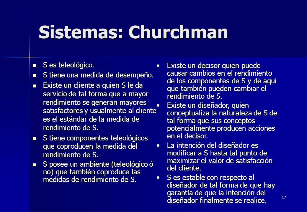17 Sistemas: Churchman S es teleológico. S es teleológico. S tiene una medida de desempeño. S tiene una medida de desempeño. Existe un cliente a quien