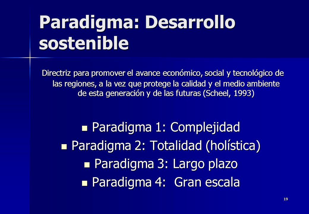 19 Paradigma: Desarrollo sostenible Directriz para promover el avance económico, social y tecnológico de las regiones, a la vez que protege la calidad