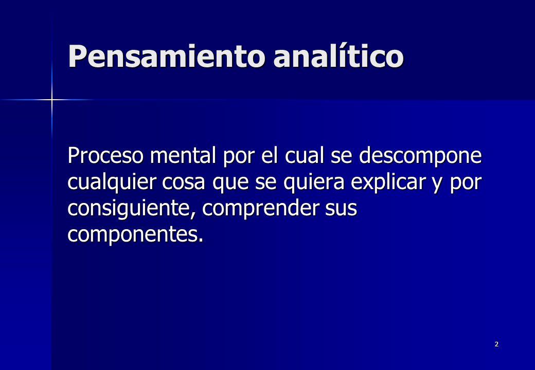 2 Pensamiento analítico Proceso mental por el cual se descompone cualquier cosa que se quiera explicar y por consiguiente, comprender sus componentes.