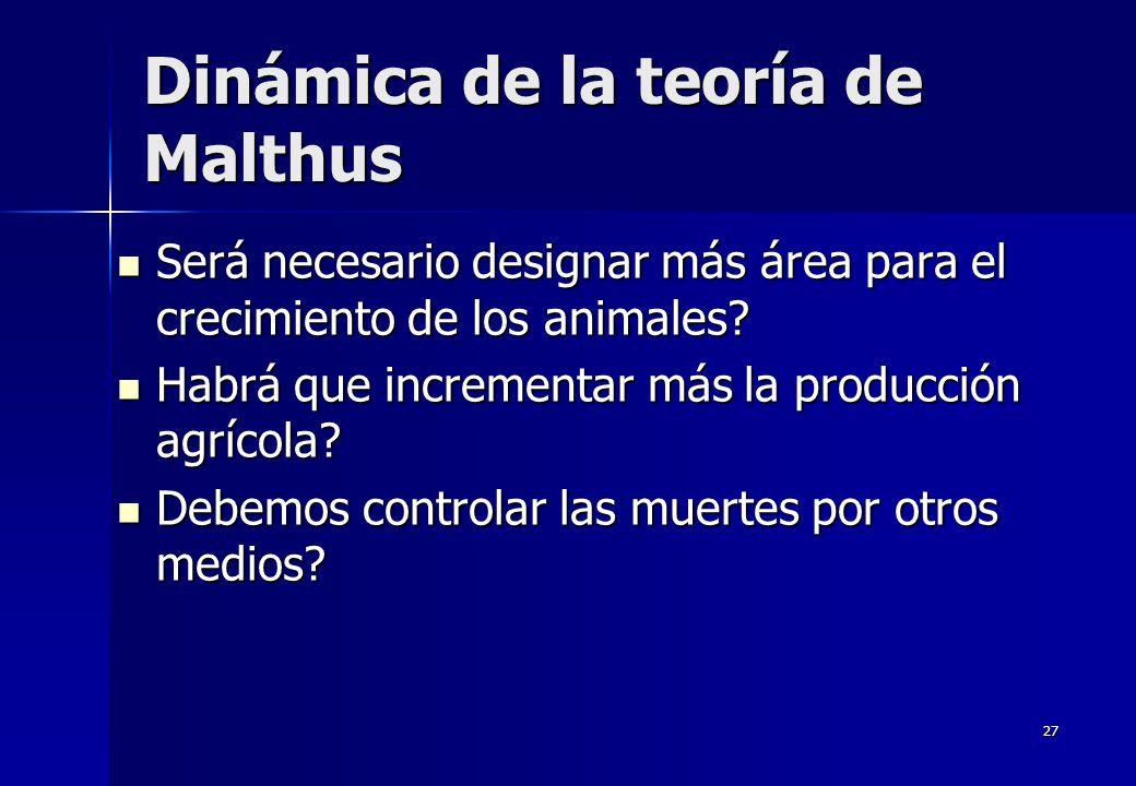 27 Dinámica de la teoría de Malthus Será necesario designar más área para el crecimiento de los animales? Será necesario designar más área para el cre