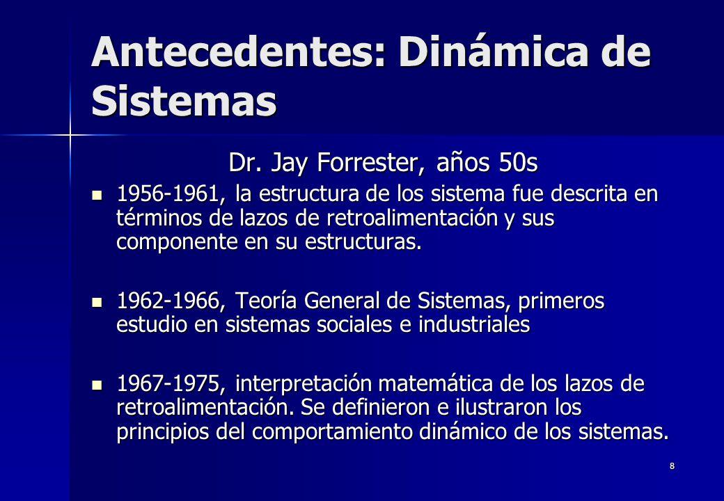 8 Antecedentes: Dinámica de Sistemas Dr. Jay Forrester, años 50s 1956-1961, la estructura de los sistema fue descrita en términos de lazos de retroali