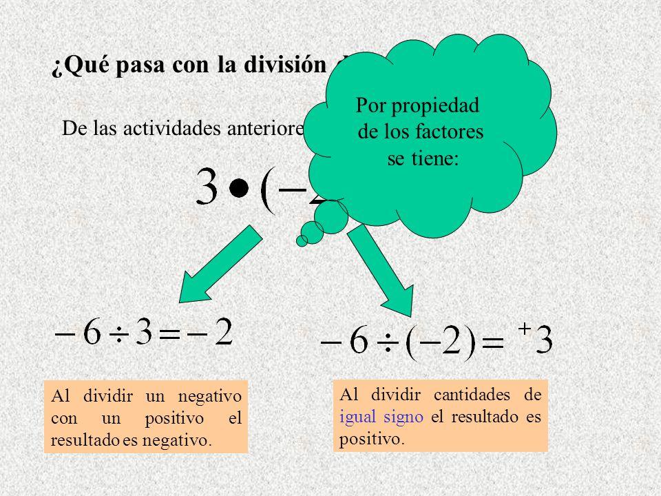 ¿Qué pasa con la división de Enteros? De las actividades anteriores, se sabe que: Al dividir un negativo con un positivo el resultado es negativo. Al