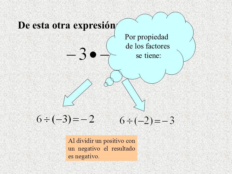 De esta otra expresión: Al dividir un positivo con un negativo el resultado es negativo. Por propiedad de los factores se tiene: