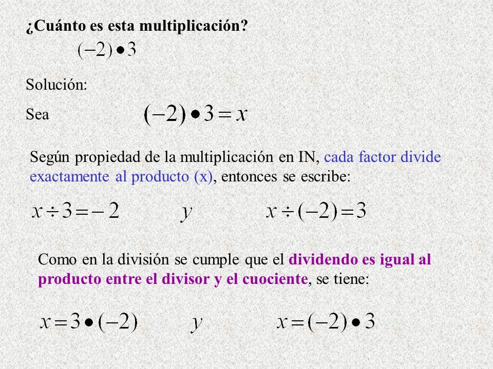 ¿Cuánto es esta multiplicación? Solución: Sea Según propiedad de la multiplicación en IN, cada factor divide exactamente al producto (x), entonces se
