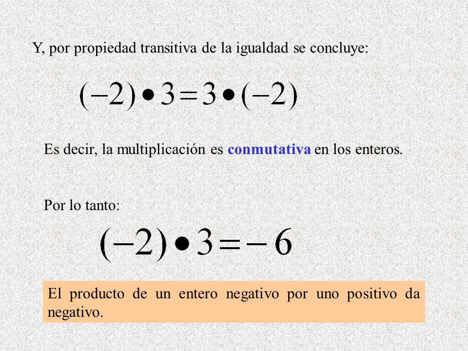 Y, por propiedad transitiva de la igualdad se concluye: Es decir, la multiplicación es conmutativa en los enteros. Por lo tanto: El producto de un ent