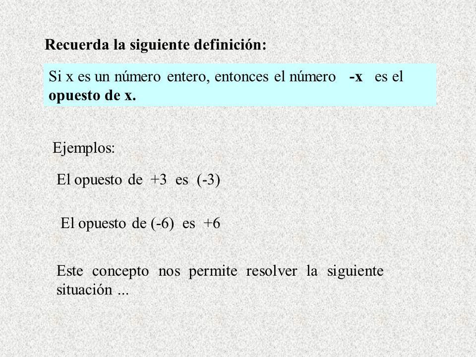 Recuerda la siguiente definición: Si x es un número entero, entonces el número -x es el opuesto de x. Ejemplos: El opuesto de +3 es (-3) El opuesto de
