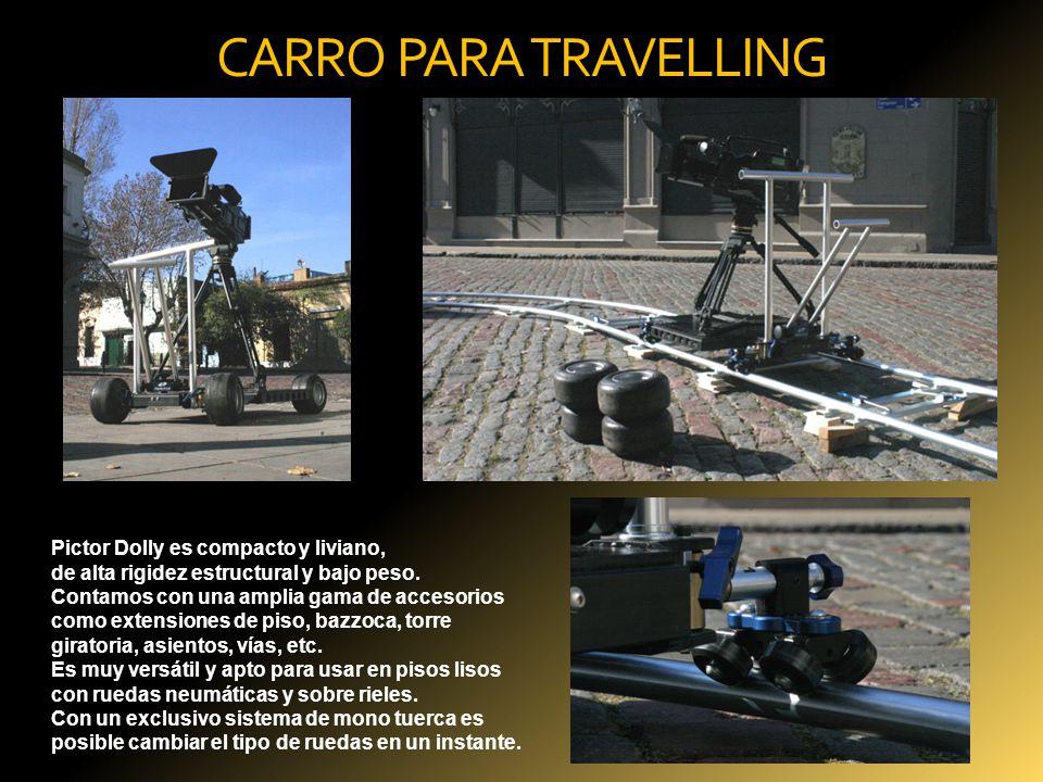 CARRO PARA TRAVELLING Pictor Dolly es compacto y liviano, de alta rigidez estructural y bajo peso. Contamos con una amplia gama de accesorios como ext