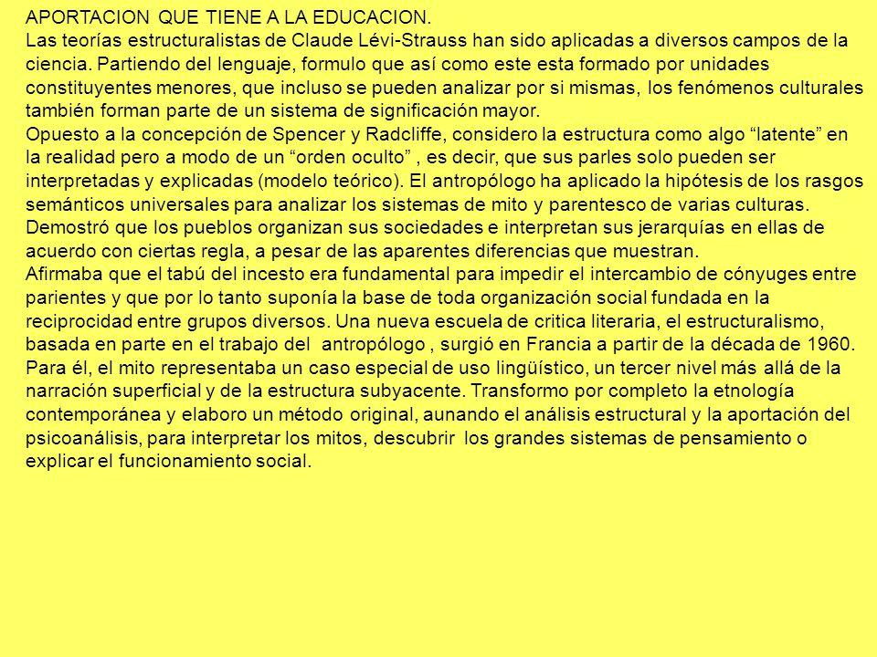 APORTACION QUE TIENE A LA EDUCACION. Las teorías estructuralistas de Claude Lévi-Strauss han sido aplicadas a diversos campos de la ciencia. Partiendo