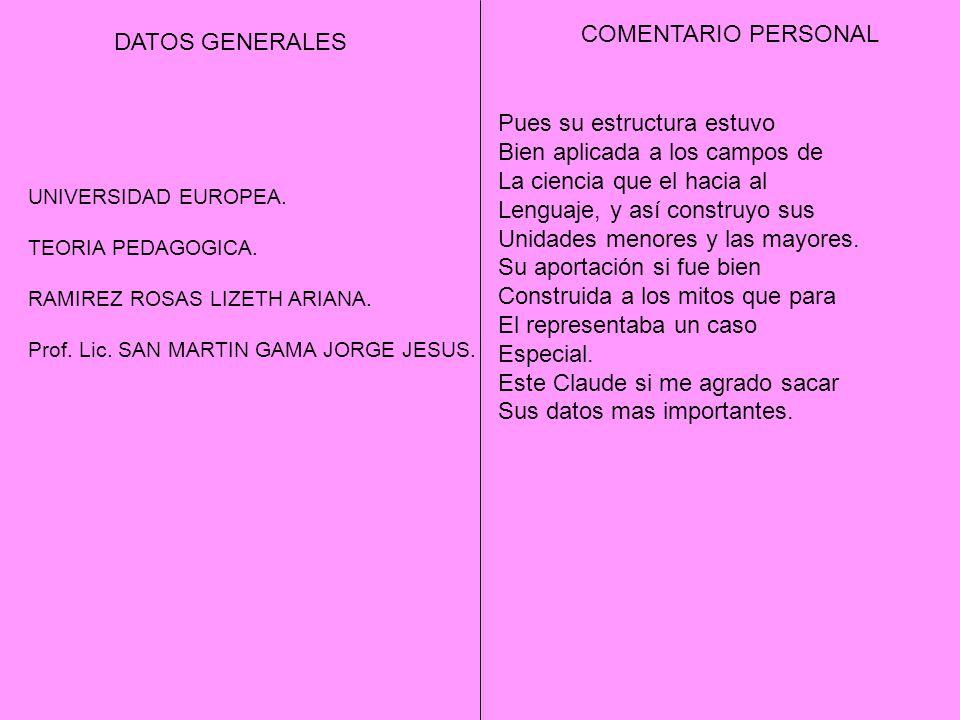 DATOS GENERALES COMENTARIO PERSONAL UNIVERSIDAD EUROPEA. TEORIA PEDAGOGICA. RAMIREZ ROSAS LIZETH ARIANA. Prof. Lic. SAN MARTIN GAMA JORGE JESUS. Pues
