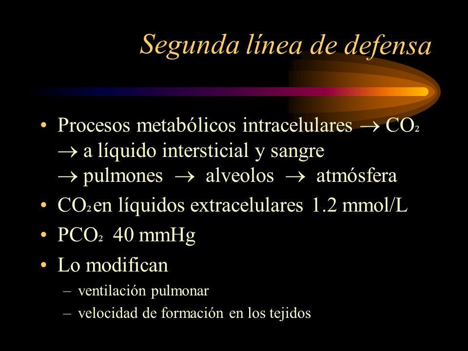 REGULACIÓN RESPIRATORIA Los pulmones o pCO 2 regulan la [H+] en el LEC