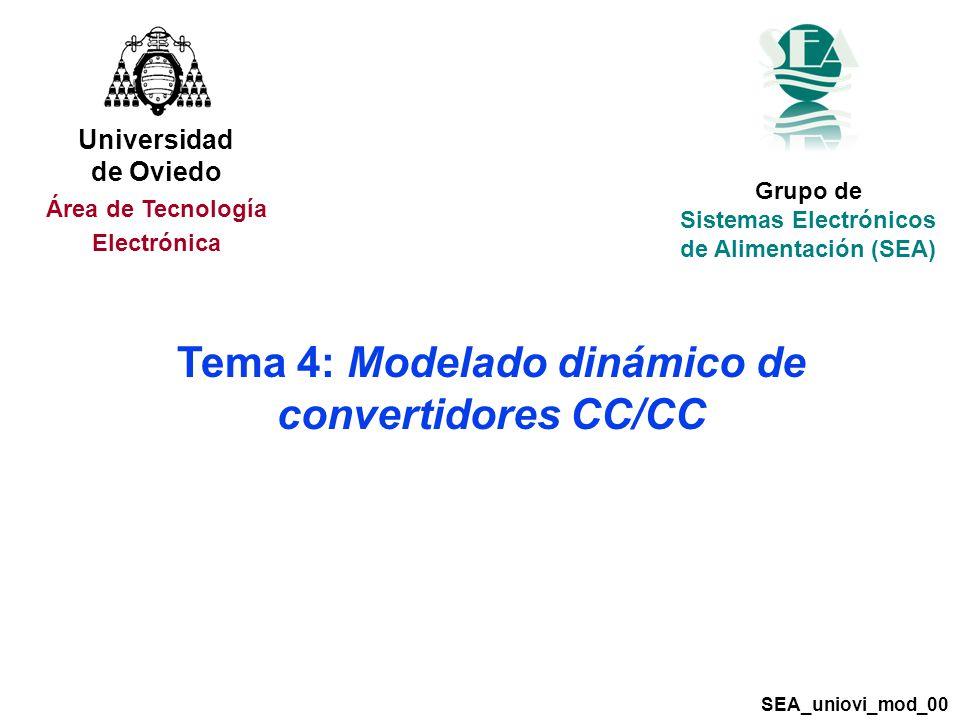 Tema 4: Modelado dinámico de convertidores CC/CC Grupo de Sistemas Electrónicos de Alimentación (SEA) SEA_uniovi_mod_00 Universidad de Oviedo Área de Tecnología Electrónica