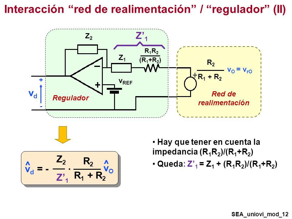 Interacción red de realimentación / regulador (II) SEA_uniovi_mod_12 v d = - ^ ^ R2R2 R 1 + R 2 vOvO Z2Z2 Z1Z1 · Hay que tener en cuenta la impedancia (R 1 R 2 )/(R 1 +R 2 ) Queda: Z 1 = Z 1 + (R 1 R 2 )/(R 1 +R 2 ) Regulador v REF vdvd + - Z2Z2 Red de realimentación R2R2 R 1 + R 2 v O = v rO Z1Z1 R1R2R1R2 (R 1 +R 2 ) Z1Z1
