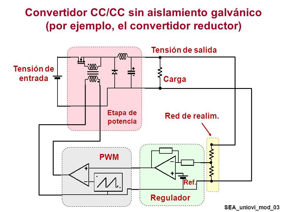 Convertidor CC/CC sin aislamiento galvánico (por ejemplo, el convertidor reductor) Tensión de entrada Tensión de salida Carga Etapa de potencia SEA_uniovi_mod_03 PWM Red de realim.