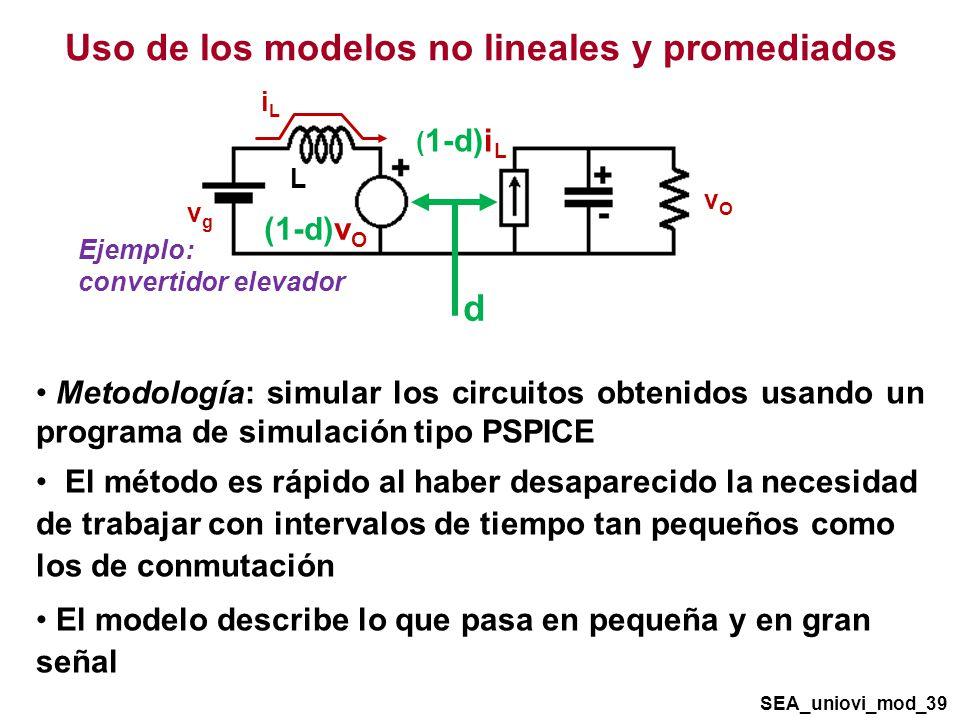 Ejemplo: convertidor elevador Metodología: simular los circuitos obtenidos usando un programa de simulación tipo PSPICE El método es rápido al haber desaparecido la necesidad de trabajar con intervalos de tiempo tan pequeños como los de conmutación El modelo describe lo que pasa en pequeña y en gran señal Uso de los modelos no lineales y promediados iLiL vgvg vOvO L ( 1-d)i L (1-d)v O d SEA_uniovi_mod_39