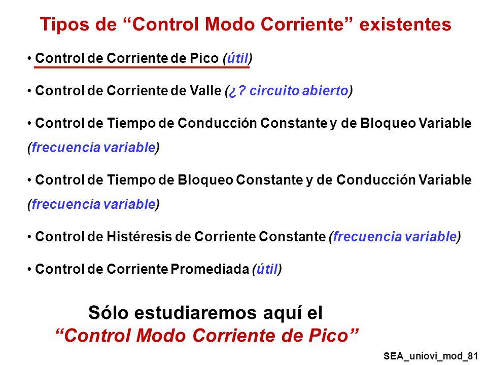 Tipos de Control Modo Corriente existentes Control de Corriente de Pico (útil) Control de Corriente de Valle (¿.