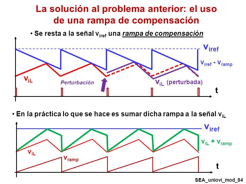 Se resta a la señal v iref una rampa de compensación La solución al problema anterior: el uso de una rampa de compensación v iref v iL v iL (perturbada) t Perturbación v iref - v ramp v iref v iL v iL + v ramp t v ramp En la práctica lo que se hace es sumar dicha rampa a la señal v iL SEA_uniovi_mod_84