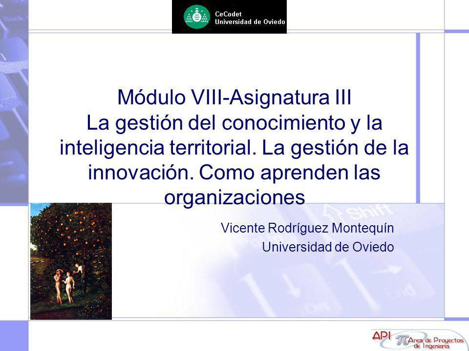 Módulo VIII-Asignatura III La gestión del conocimiento y la inteligencia territorial. La gestión de la innovación. Como aprenden las organizaciones Vi