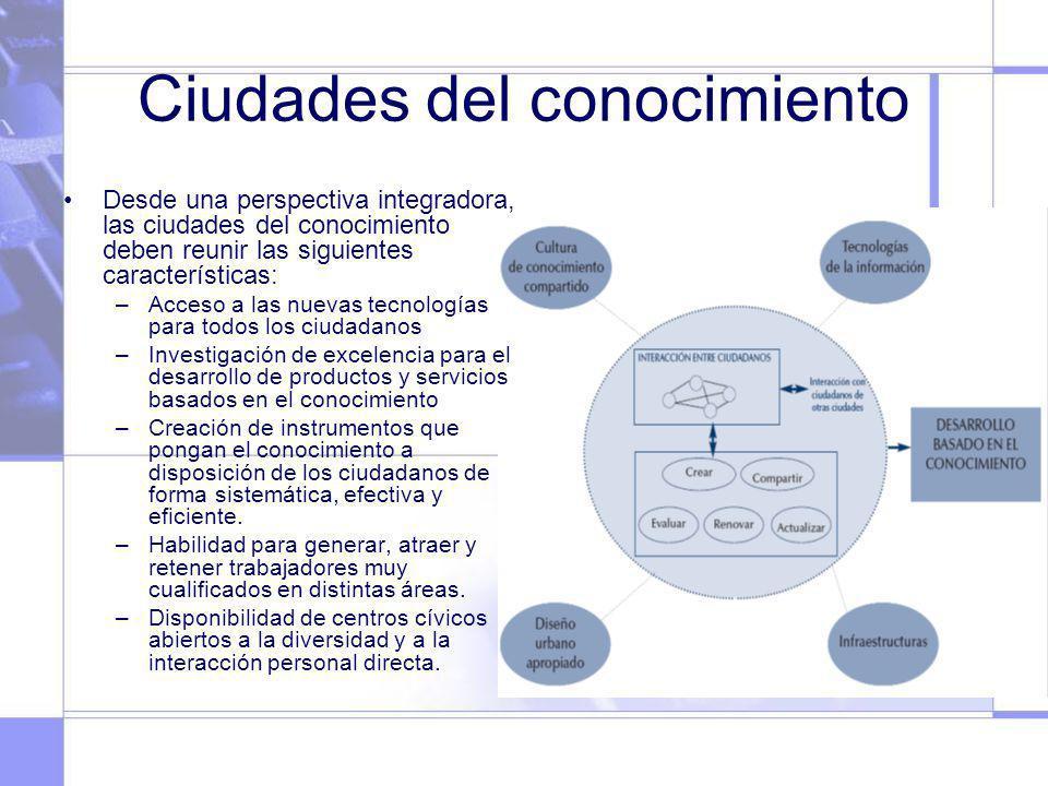Ciudades del conocimiento Desde una perspectiva integradora, las ciudades del conocimiento deben reunir las siguientes características: –Acceso a las