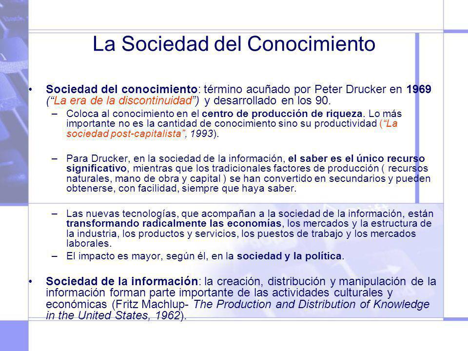 La Sociedad del Conocimiento Sociedad del conocimiento: término acuñado por Peter Drucker en 1969 (La era de la discontinuidad) y desarrollado en los