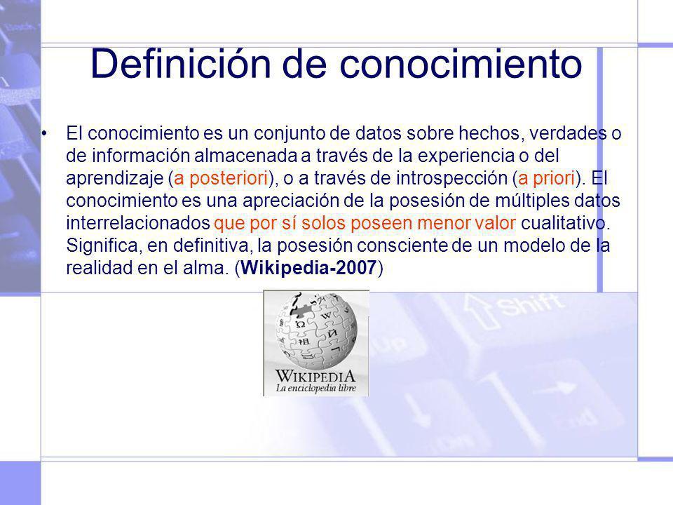 Definición de conocimiento El conocimiento es un conjunto de datos sobre hechos, verdades o de información almacenada a través de la experiencia o del