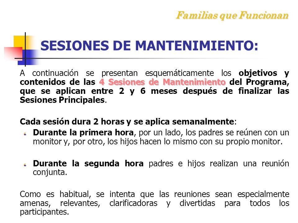 F amilias que Funcionan SESIONES DE MANTENIMIENTO: 4 Sesiones de Mantenimiento A continuación se presentan esquemáticamente los objetivos y contenidos de las 4 Sesiones de Mantenimiento del Programa, que se aplican entre 2 y 6 meses después de finalizar las Sesiones Principales.