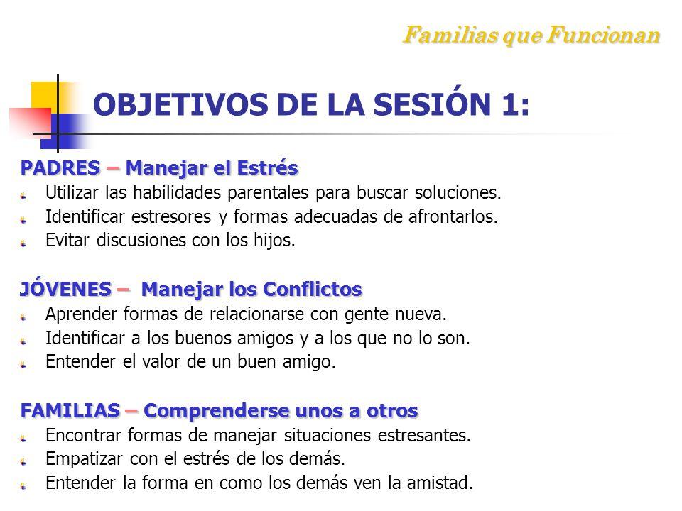 F amilias que Funcionan OBJETIVOS DE LA SESIÓN 1: PADRES – Manejar el Estrés Utilizar las habilidades parentales para buscar soluciones.